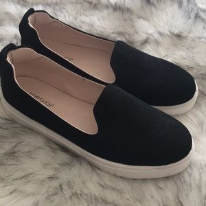 Black suede slip in sneakers